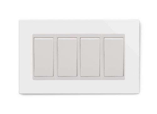 RetroTouch 4 Gang 20 Amp Double Pole Switch White Glass PG 04543